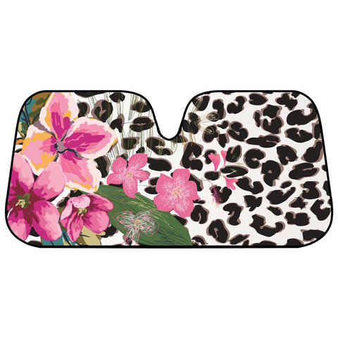 Floral Leopard Print Sunshade - Front Windshield Sun Protector