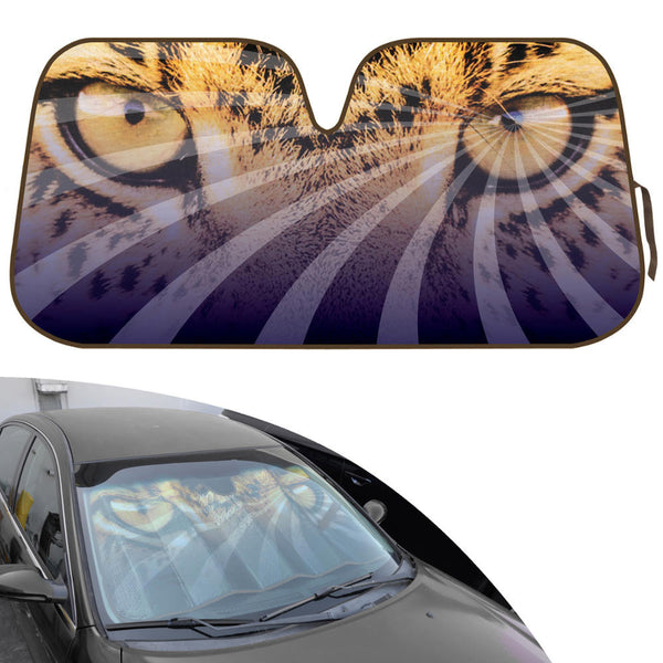 Double Bubble Auto Sun Shade for Car SUV Truck - Mesmerizing Hypnotic Leopard Eyes - Jumbo Folding Accordion