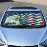 USA Eagle Flag Auto Sun Shade for Car SUV Truck - Stars & Stripes