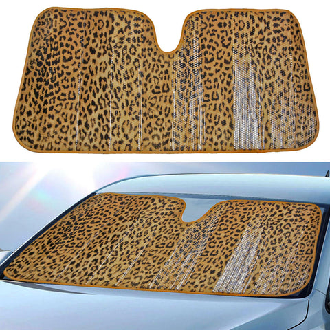 Leopard Beige Sunshade - Front Windshield Sun Protector