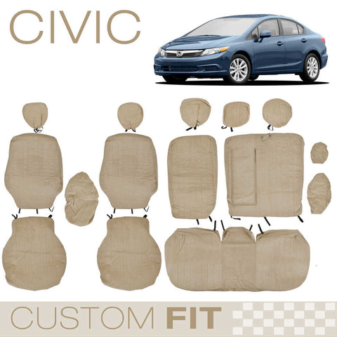 BDK Custom Fit Seat Covers for Honda Civic - OEM Micro Fit (2 Color)