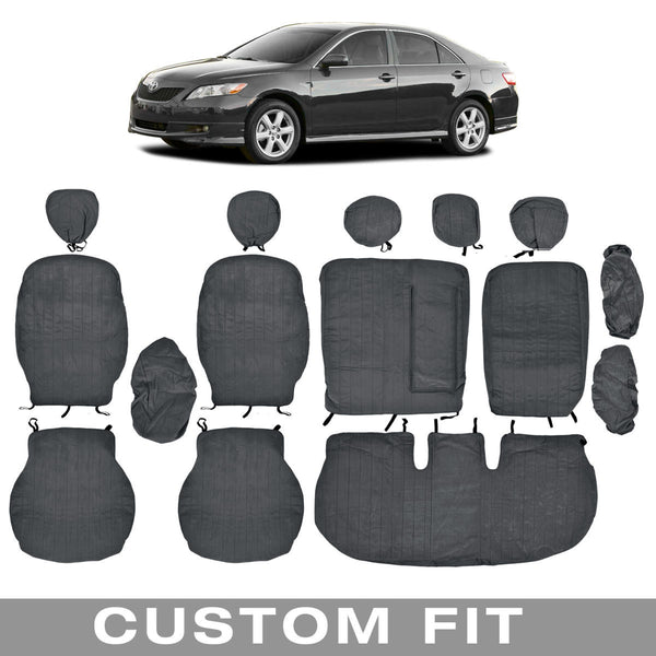 Front and Rear Exact Custom Fit Encore/Velour charcoal Seat Cover for Toyota Camry 2007-12