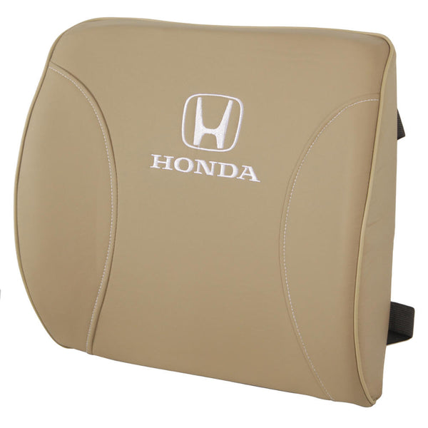 Honda Lumbar Support Cushion - Orthopedic Comfort in Synthetic Leather (Beige)