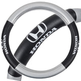 "Black & Silver Honda Steering Wheel Cover - Synthetic Leather Grip - Small 13.5""-14.5"" in Black"