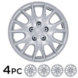 "Premium Quality Hubcaps - 15"" Silver Finish Full Set 4 Piece Wheel Covers"