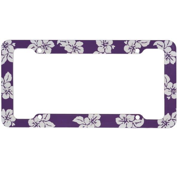 BDK USA 2pc Set Plastic License Plate Frames Hawaiian Design Purple
