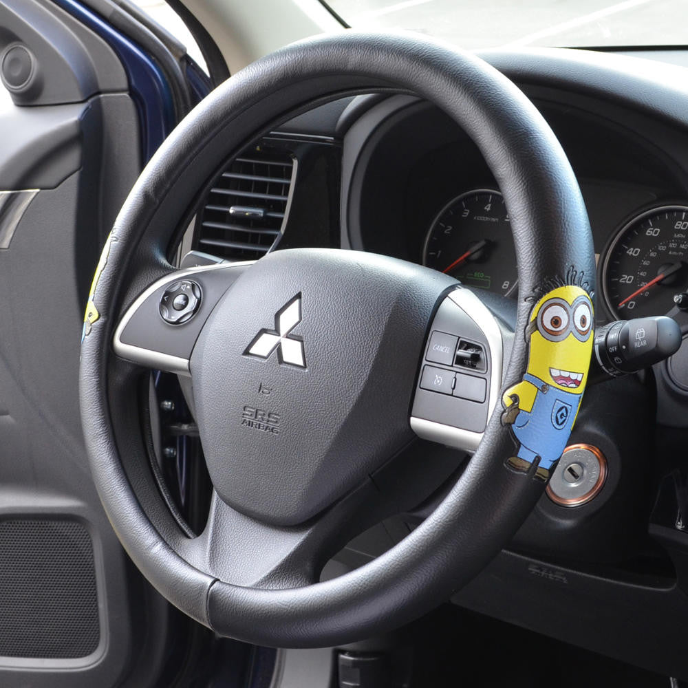 Minions Jerry Waving Synthetic Leather Steering Wheel Cover
