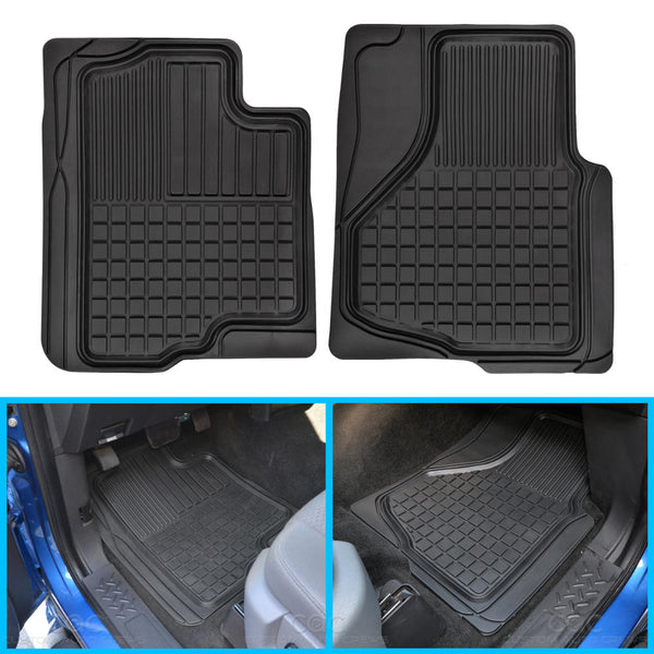 Motor Trend FlexTough Custom Fit Liners - Heavy Duty Rubber Floor Mats for Ford F-150 2009-14 (Black)