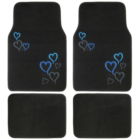Blue Hearts Design Car Floor Mats - 4 Piece