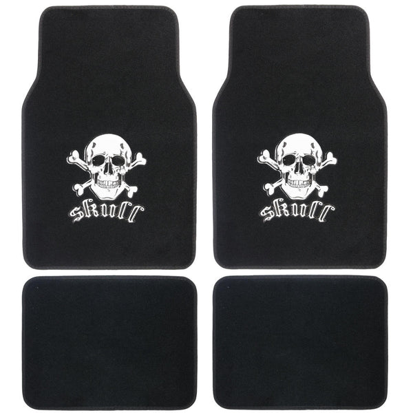 Skull Head Design Car Floor Mats - 4 Piece