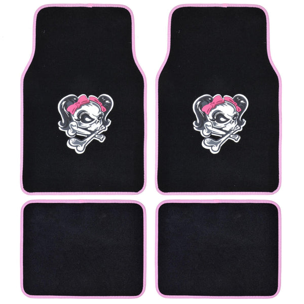 Lady Skull Car Floor Mat 4 PC Set Design Auto Carpet Halloween Special Edition