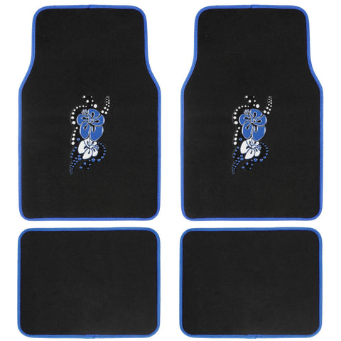 Blue Hawaiian Design Car Floor Mats - 4 Piece