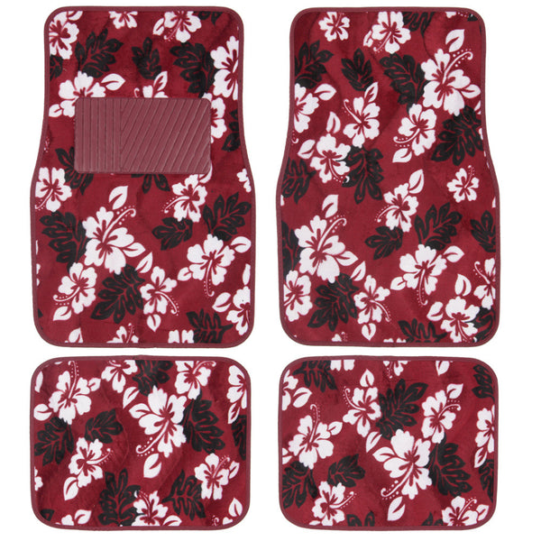 BDK Hawaiian Flower Design Carpet Floor Mats for Car SUV  - 4 Piece Set, Red, Licensed Prodcuts, Secure Backing