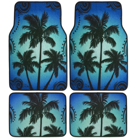 Blue Palm Tree Design Car Floor Mats - 4 Piece