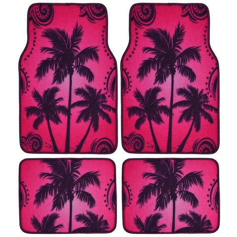 Pink Palm Tree Design Car Floor Mats - 4 Piece