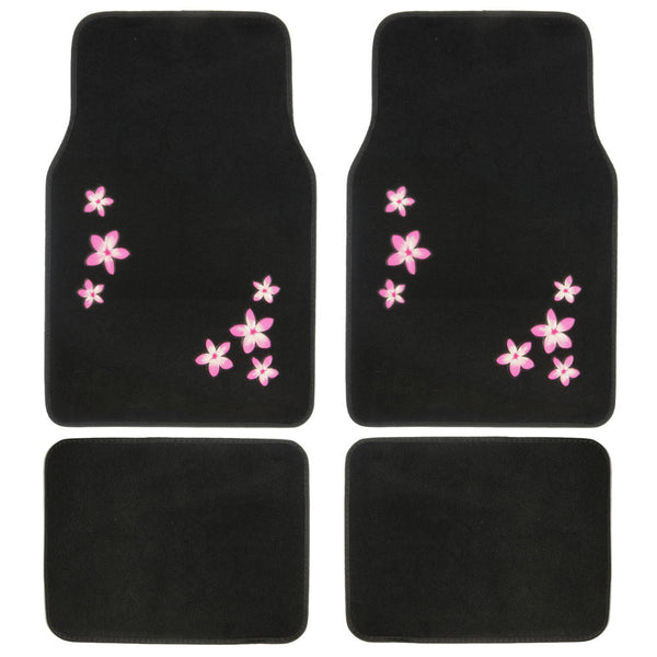 BDK Floral Design Carpet Floor Mats for Car SUV  - 4 Piece Set, Pink, Licensed Prodcuts, Secure Backing