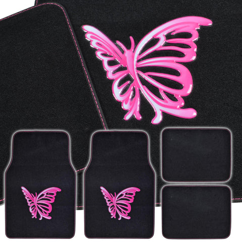 Pink Butterfly Design Car Floor Mats - 4 Piece