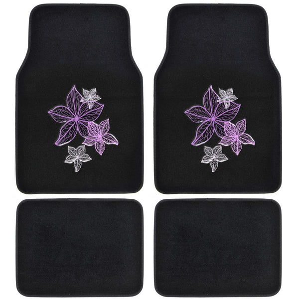 Pretty Rugs - Carpet Car Floor Mats White Violet Purple Flowers Embossed - Pink on Black 4pc Set