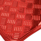 Red Aluminum Metal Sheen Floor Mats - Shiny Heavy Duty Vinyl Protection 4pc