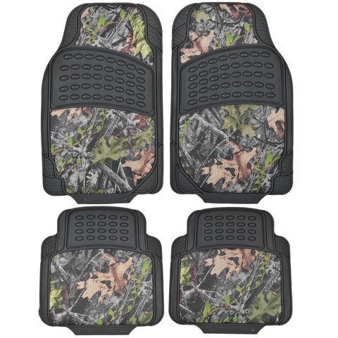 Heavy Duty Camouflage Inlay Floor Mats - Black Rubber with Hawg Camo - 4pc Set for Car SUV Truck
