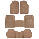 "Motor Trend ""FlexTough"" Rubber Car Floor Mats & Liners Mega Truck/SUV Combo 4 Piece 3 Rows - Heavy Duty 100% Odorless (3 Color)"