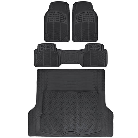 BDK All Season Ridged - Heavy Rubber Floor Mats & Trunk Liner (3 Colors)