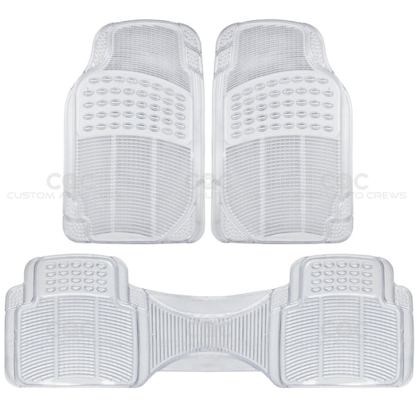 BDK USA 1 Piece Heavy Duty Ridged Rubber Floor Mats Car Auto SUV Van Trucks - Clear