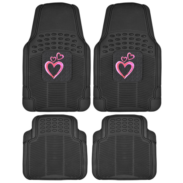 BDK Pink Hearts PVC Ridged Diamond Rubber Mats 4 Piece All Weather