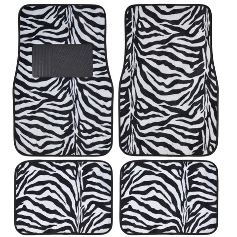 BDK Animal Print Zebra Fur Carpet Floor Mats 4 Piece Front & Rear (6 Color)
