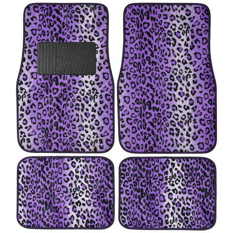 BDK Animal Print Leopard Fur Carpet Floor Mats 4 Piece Front & Rear (4 Color)