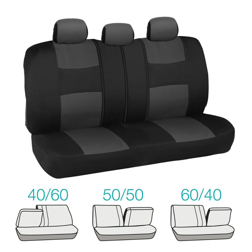 Black And Charcoal Universal Mesh And Cloth Seat Covers