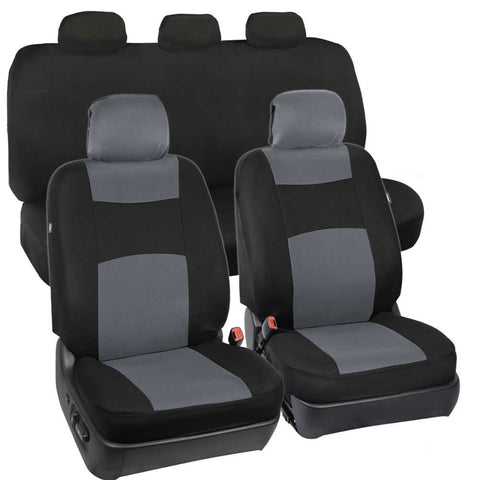 Full Set Seat Covers for Car Auto SUV 9pc Polyester Cloth Solid Bench (5 Color)