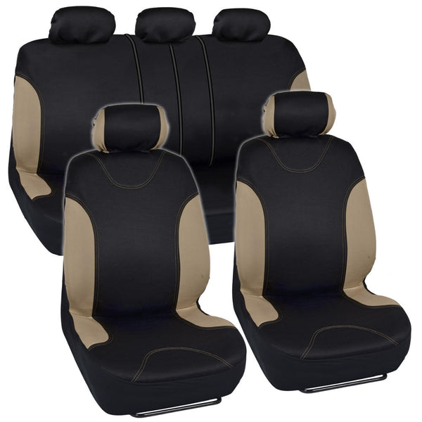 BDK PolyCloth Casual Sport Car Seat Covers - Split Bench (3 Color)