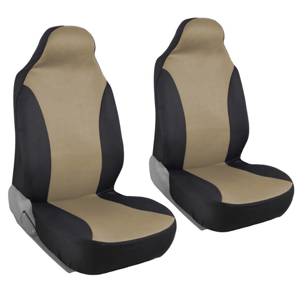 Front Pair of Bucket Seat Covers for Car - Rome Polyester Cloth Black & Tan Two Tone