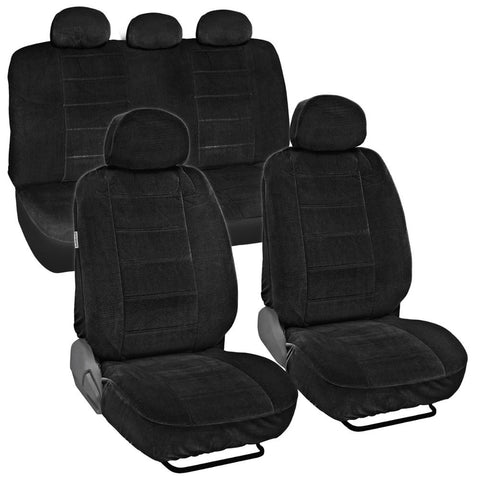 BDK CozySeats Fine Velour Encore Car Seat Covers Full Set in Solid (3 Color)