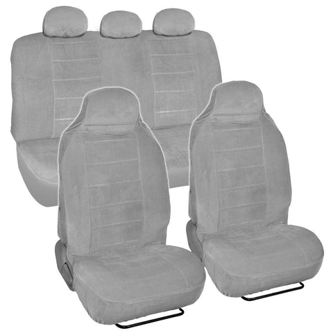 BDK Gray Full Cloth High Back Encore style Premium Car Seat Covers 7 pc (3 Color)