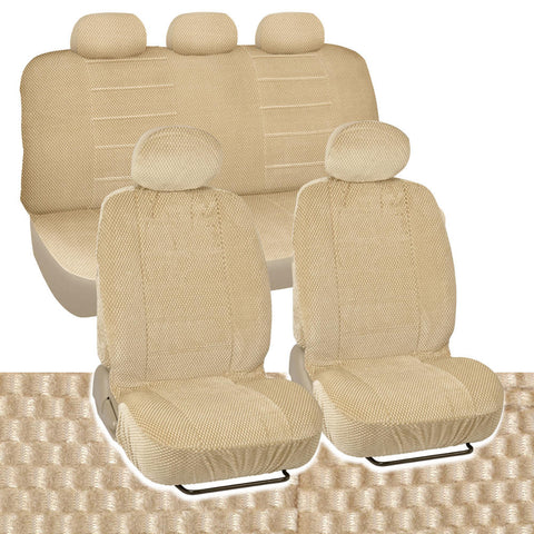 BDK Checkered Cloth Scottsdale style Premium Low Back Car Seat Covers 9pc (4 Color)