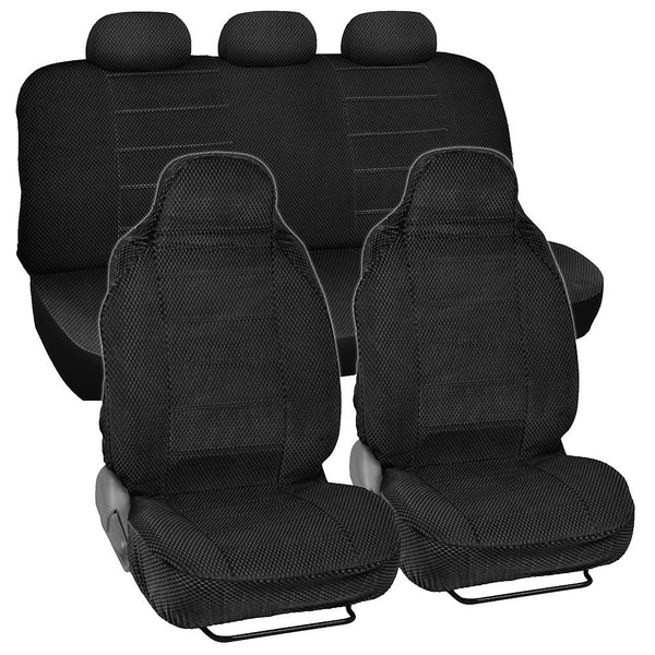 BDK Scottsdale Cloth Car Seat Covers - High Back Fronts - Full Set 7pc (4 Color)
