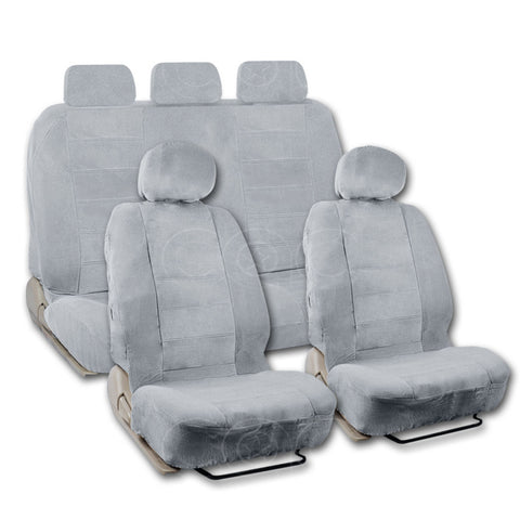BDK Gray Car Seat Covers Full Cloth Extra Size Encore style Low Back 9 pc