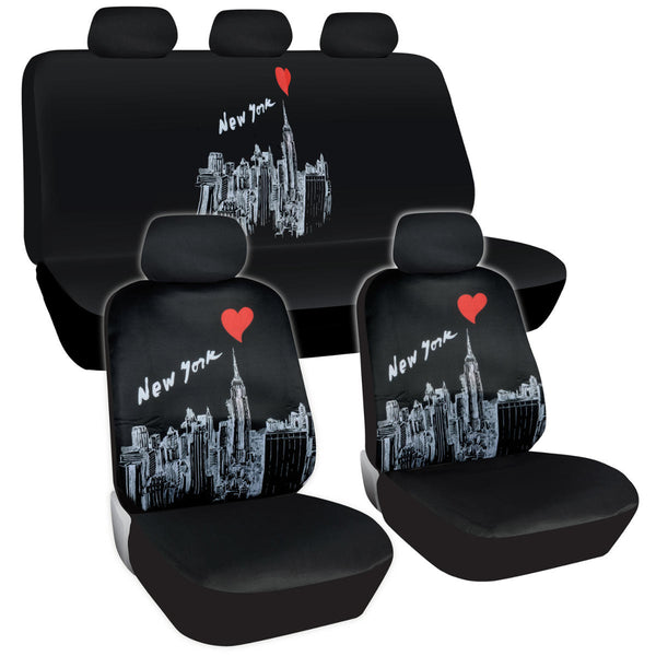 New York Skyline Seat Covers - 11pc Universal Fit - NY Design