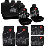 New York Skyline Seat Covers and Floor Mats Set - 15pc Universal Fit - NY Design