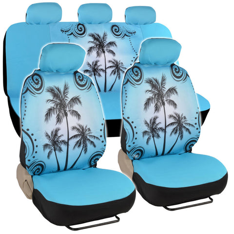 BDK Prink & Blue Palm Tree Car Seat Covers - Universal Fit, 9 Piece