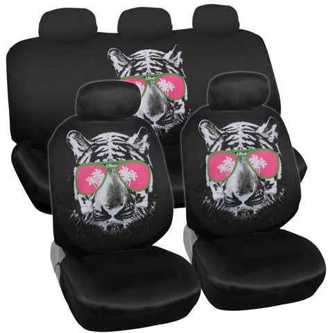 Cool Hip Tiger Car Seat Covers - Universal Fit, 9 Piece