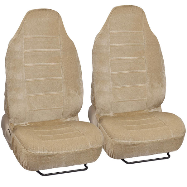 Beige Tough Cloth High Back Bucket Seat Covers