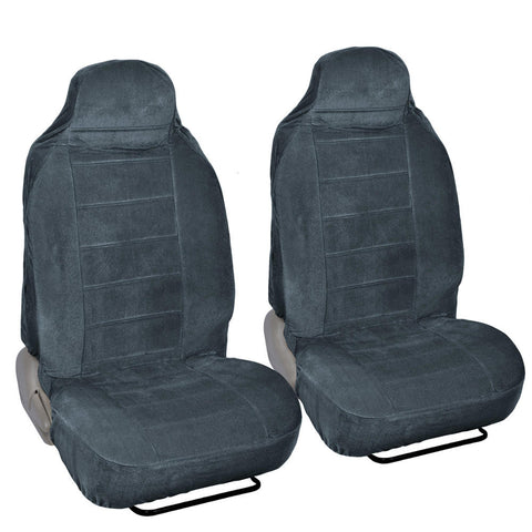 Full Bucket Fine Velvet Seat Covers - Rich Charcoal Grey Velour Front Pair