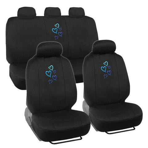 Blue Love Hearts Car Seat Covers - Universal Fit, 9 Piece