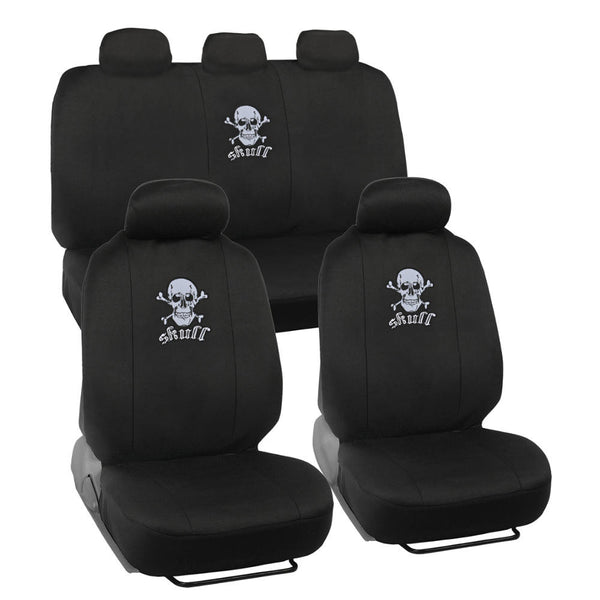 White Skull Head Car Seat Covers - Universal Fit, 9 Piece