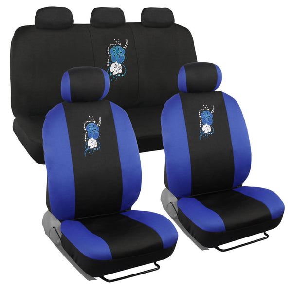 Blue Hawaiian Car Seat Covers - Universal Fit, 9 Piece