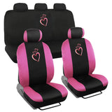 BDK 9 Piece Car Seat Covers, Universal Fit Full Bench - Premium Design - Love Hearts Design