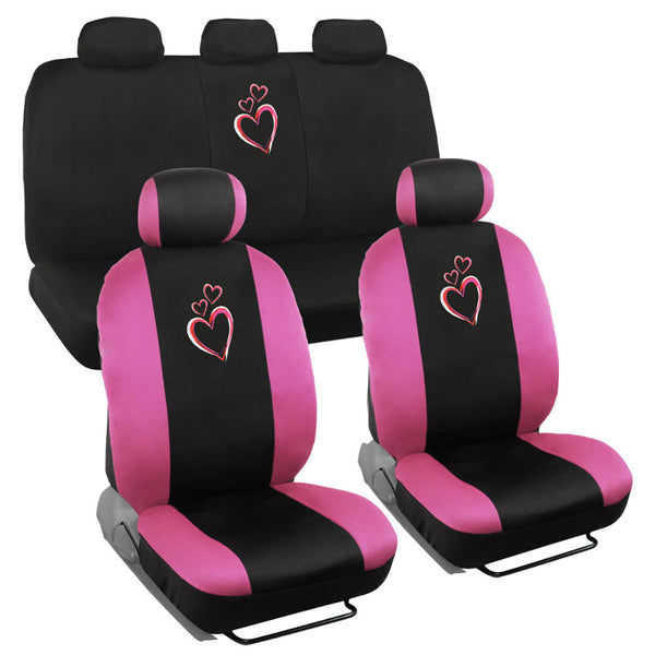 New Heart Love Car Seat Covers - Universal Fit, 9 Piece